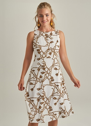 NGSTYLE Zincir Desenli Elbise Beyaz